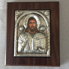 Silver icon 950/1000  JESUS CHRIST BLESSING  with walnut wooden frame / Greece 2nd half of 20th century