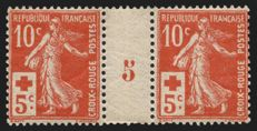 France 1914 – Semeuse Red Cross, vintage pair 5 – Yvert no. 147.