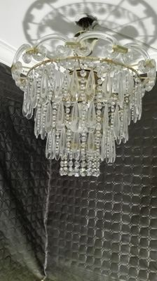 Large crystal chandelier, rhinestone and brass. 20th century.