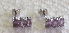 14 kt white gold Amethyst earrings set with 3 x single stones ; stone is 5 x 3 mm