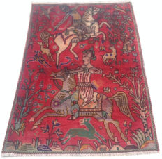 Persian Hunting Pictorial Hand Knotted Area Rug 140 cm x 93 cm
