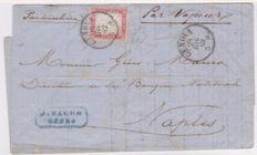 "Sardinia, 1862 – 40 cents pink on letter from Genoa to Napes via sea, inscription ""par Vapeur"", Sass. N. 3d"