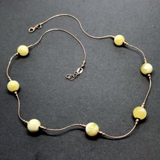 14k Gold vintage necklace with natural Baltic Amber beads (not pressed)