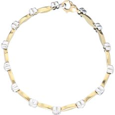 14 kt bicolour yellow/white gold link bracelet set with 4 blue ornamental stones and 3 pink ones – Length 19.5 cm