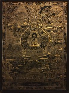 Masterpiece Handpainted Thangka painting, Buddha Life Story - Tibet/Nepal - late 20th century