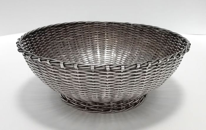 Silver plated woven basket - Christofle, France