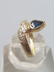 14 kt Gold women's ring with blue sapphire and diamond, 0.15 ct - size 17 mm