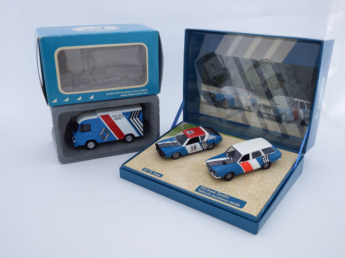 Norev / Ixo Models - Scale 1/43 - Lot with 3 models: Renault 17 TS Proto #10 with Renault 12 Break Gordini & Saviem SG2 Assistance Course Alpine