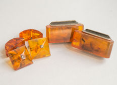 Two pair of silver Natural Baltic Amber cuff links with natural honey/ cognac Amber
