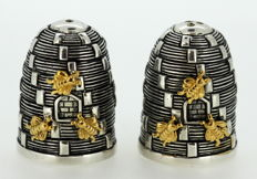 Silver Plate Pair of Beehive Salt and Peppers, Circa 1970's