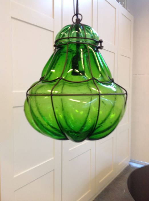 Venetian Hanging Lamp With Separate Form In Green Glass