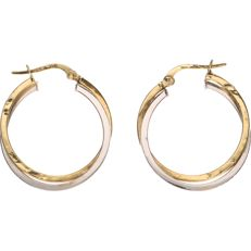 18 kt yellow gold tooled earrings, whole creole earrings – Diameter: