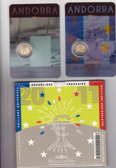 France and Andorra, year sets 2011/2017 + 2 Euro 2014 and 2015 commemoration coins.