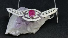 Necklace in 18 kt White Gold, Tinted Quartz, Zircons, 0.10 ct in Brilliant Cut Diamonds - Length 44.5 cm