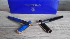 Waterman Apostrophe-Paris-2 x Blue Marble fountain pen + black fountain pen with gold plated trim-In luxury storage box