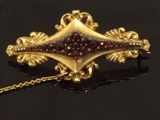 Antique gold brooch, Biedermaier, late 19th century