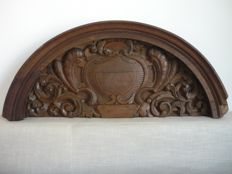 Decorated lintel in carved oak - France - 19th century