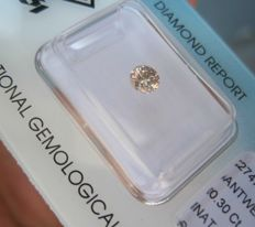 0.30 ct Round brilliant Natural Fancy Light Pinkish Brown SI2