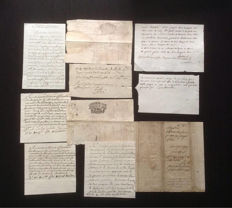 Manuscripts; Lot of 11 antique French handwritten letters and documents - 1700s