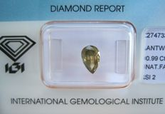 0.99 ct Pear Brilliant Fancy Deep Greyish Greenish Yellow SI2