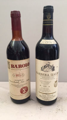 1975 Giacosa Fratelli Barolo x 1 bottle & 1974 Bruna Giacosa Barbera d'Alba x 1 bottle /  2 Bottles 75cl