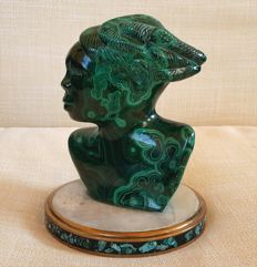 Malachite Sculpture mid 20th century - 14x10 cm - 1267 g
