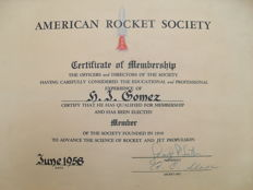 American Rocket Society signed by R.J Grosch and AC Slade - New York - 1958