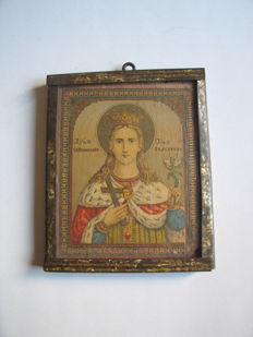 Antique Russian icon St Ekaterini 1890-1916