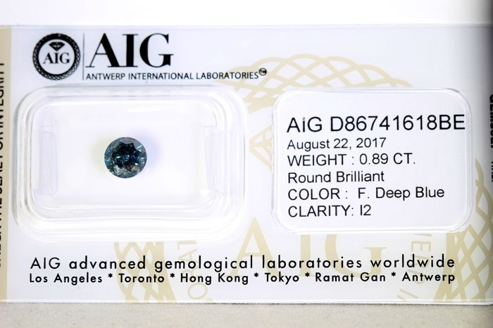 Fancy Deep Blue Diamant - ( Color Treated ) - 0.89 ct