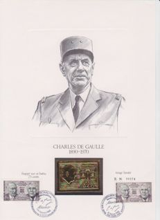 France 1970 - 3 vignettes tribute to General de Gaulle, beaten struck gold of 23 and 24 kt - Printing: 5,000 units.