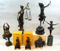 Collection of 7 bronze statues