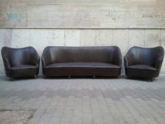 Sofa, three seater and pair of armchairs, vintage design - mid 20th century