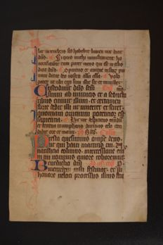 Manuscript Leaf on Vellum - First half 14th Century