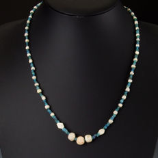 Necklace with Roman glass, stone and shell beads - 56 cm
