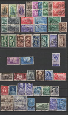 Italy 1948/1955 - Collection of single stamps and in series, some in pairs.