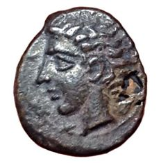The Greek Antiquity - Sicily, Katane ca. 339-330 BC - Æ Onkia (Bronze, 10mm, 0,80g.) - Young head of river-god Amenanos / Eagle - CNS III, 2; HGC 2, 608 - Scarce