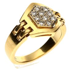 18 kt gold ring set with a 0.25 ct brilliant cut diamond