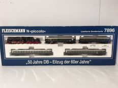 "Fleischmann N - 7896 - Passenger train with steam locomotive BR38 3346 of the DB ""50 Jahre DB - Eilzug der 60er Jahre"", Special edition 1999 Era III (1917)"