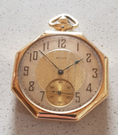 11. Octagonal Elgin - Art Deco gold tailcoat watch - USA circa 1925