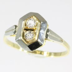 Art Deco bicolor gold white simili ring, anno 1920. No reserve price