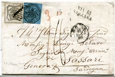 Papal State 1856 - 7 baj and 8 baj on letter from Rome to Sassari, via Sarzana, Sassone nos. 8b and 9