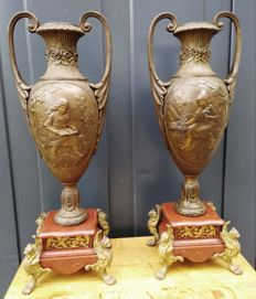 A set of big zamac amphora chinmey vases with double-sided image - France - ca. 1900