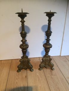 Two brass church candlesticks, France, circa 1900