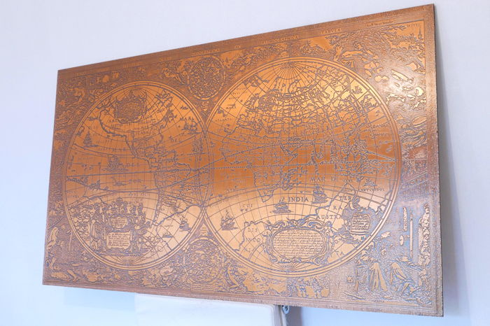 Large world map in copper according to Hendrik Hondius - Catawiki