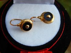 Antique sleeper earrings in 18 kt gold, NO RESERVE PRICE!!