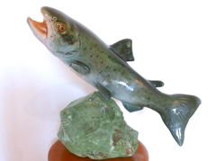"Large ""Trout"" earthenware and glass sculpture by the French ceramist Raymond Gangloff"