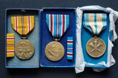 US army - WW2 campaign - Medal awards in original boxes