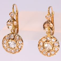 Vintage dangling flower shaped gold white sapphire earrings - anno 1930. No reserve price