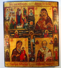 Russian orthodox iсon,  Four-part icon with a crucifix , hand painted, tempera, wood, XX th century..