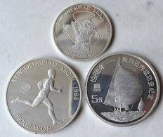 China & Korea - lot of 3 coins (5 Yuan, 5000 & 10000 Won) 'XXIV Olympiad Seoul' 1988 - silver